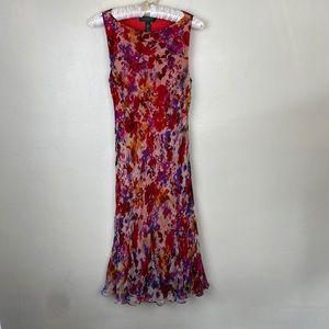 Lauren Ralph Lauren Red Floral Color Dress Silk